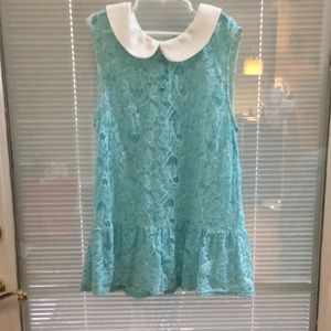 Lace teal blouse with buttons
